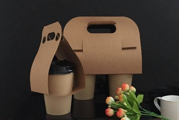 Disposable cup carrier take away coffee paper cup holder kraft paper material cups carrier