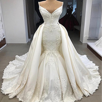 bestidos de novia Spaghetti Straps Lace Appliqued Mermaid Wedding Dress With Detachable Skirt 2019