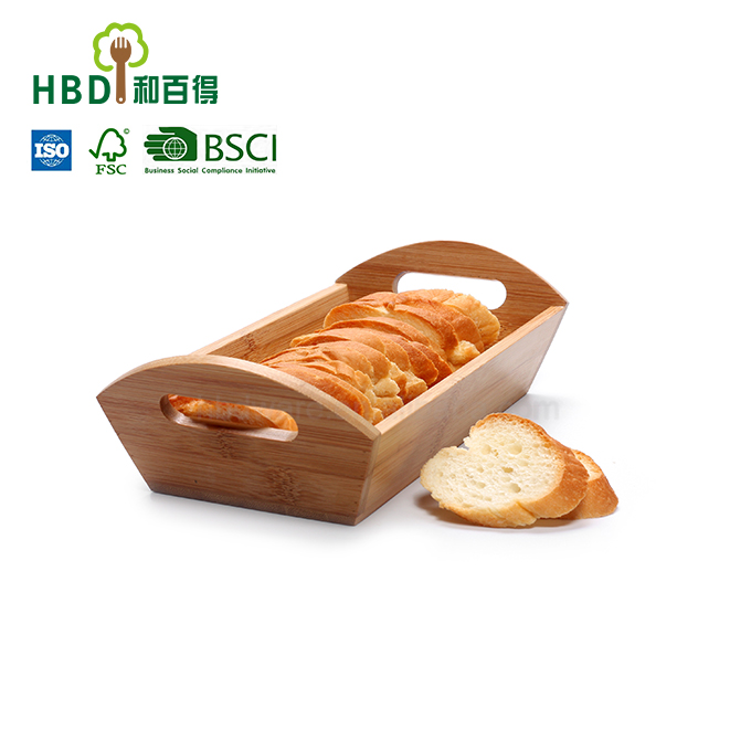Buy bread box serving tray food tray with handles,bamboo bread tray for sale