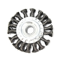 twist knot wire wheel brush for industrial polishing, deburring and rust cleaning