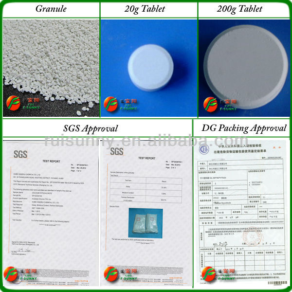 Sodium process 65% calcium hypochlorite tablet