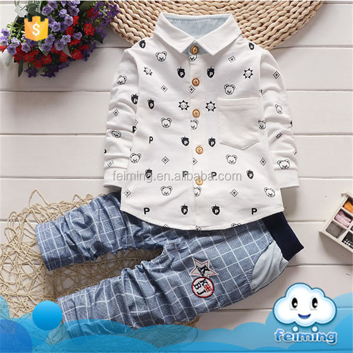 Factory price good quality children's polo 2017 boys clothing sets new design toddler boy clothes long sleeve cotton
