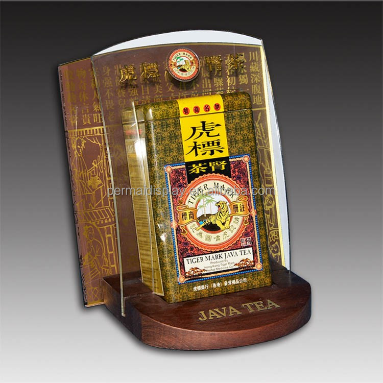 permium quality wooden tea bag table pop display stand