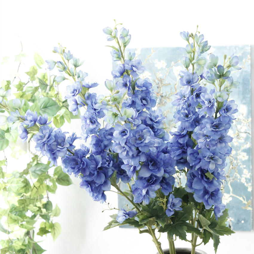 High Quality Fabric 105cm Long Stem Artificial Delphinium Flowers For Table Decoration