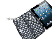 fashional Grid stripe leather case for ipad 4