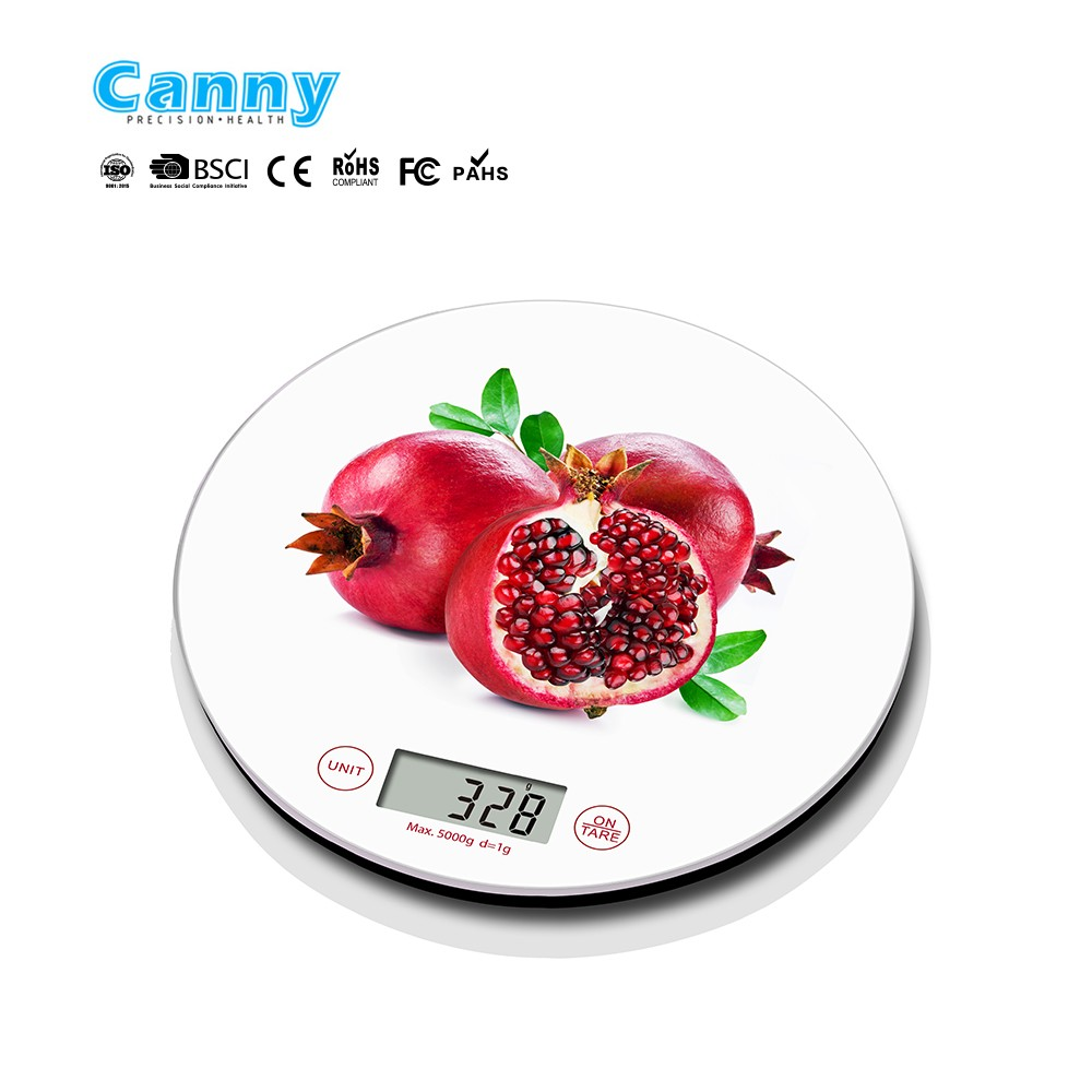 Smart round shape kitchen scale with water transfer printing fashion design CK452