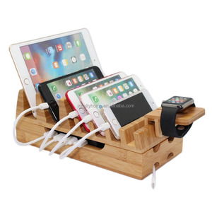Universal multi devices bamboo mobile phone charge station with watch stand