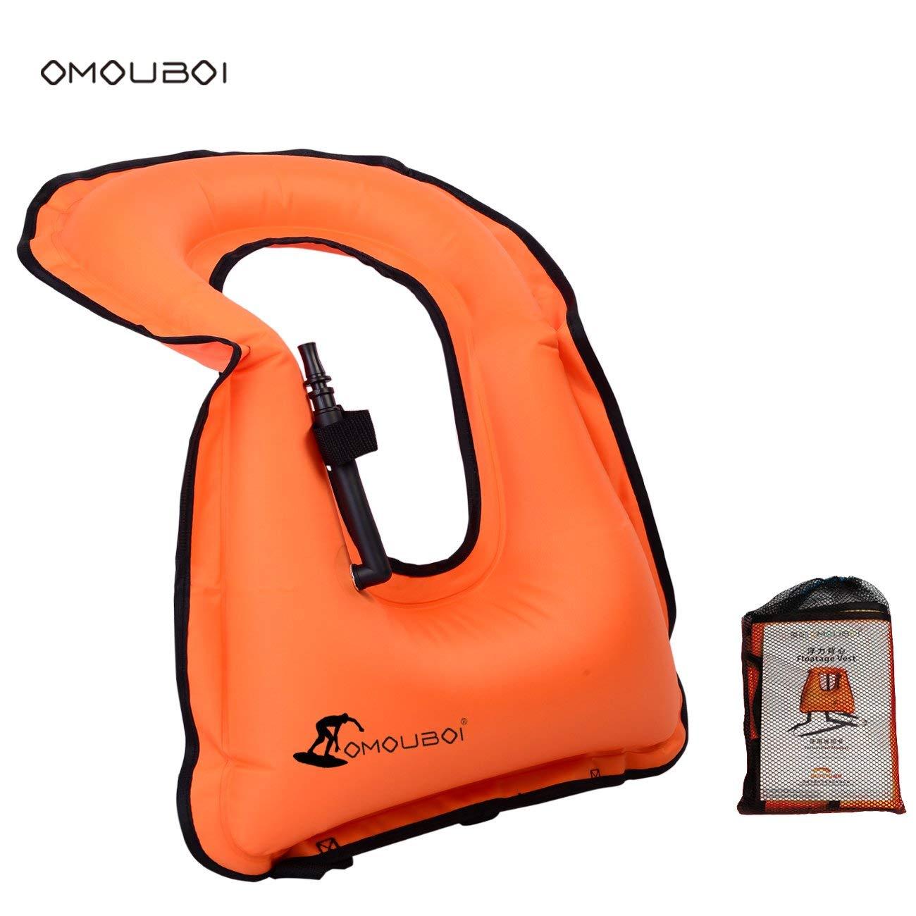 Life Jackets Omouboi Unisex Adult Inflatable Snorkel Vest Snorkel Jacket Free Diving Safety Jacket