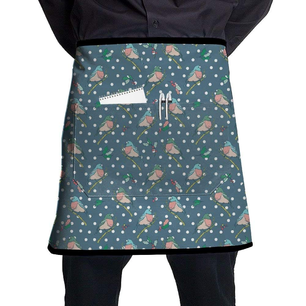 Winter Vintage Blue Birds Polka Dot Anima Waist Aprons Half Bistro Apron With Pockets Apron For Women Restaurant Waitress Waiter