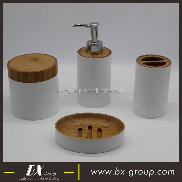 Bx Group 2017 New Design White Wood Bathroom Accessories Set In Round Shape