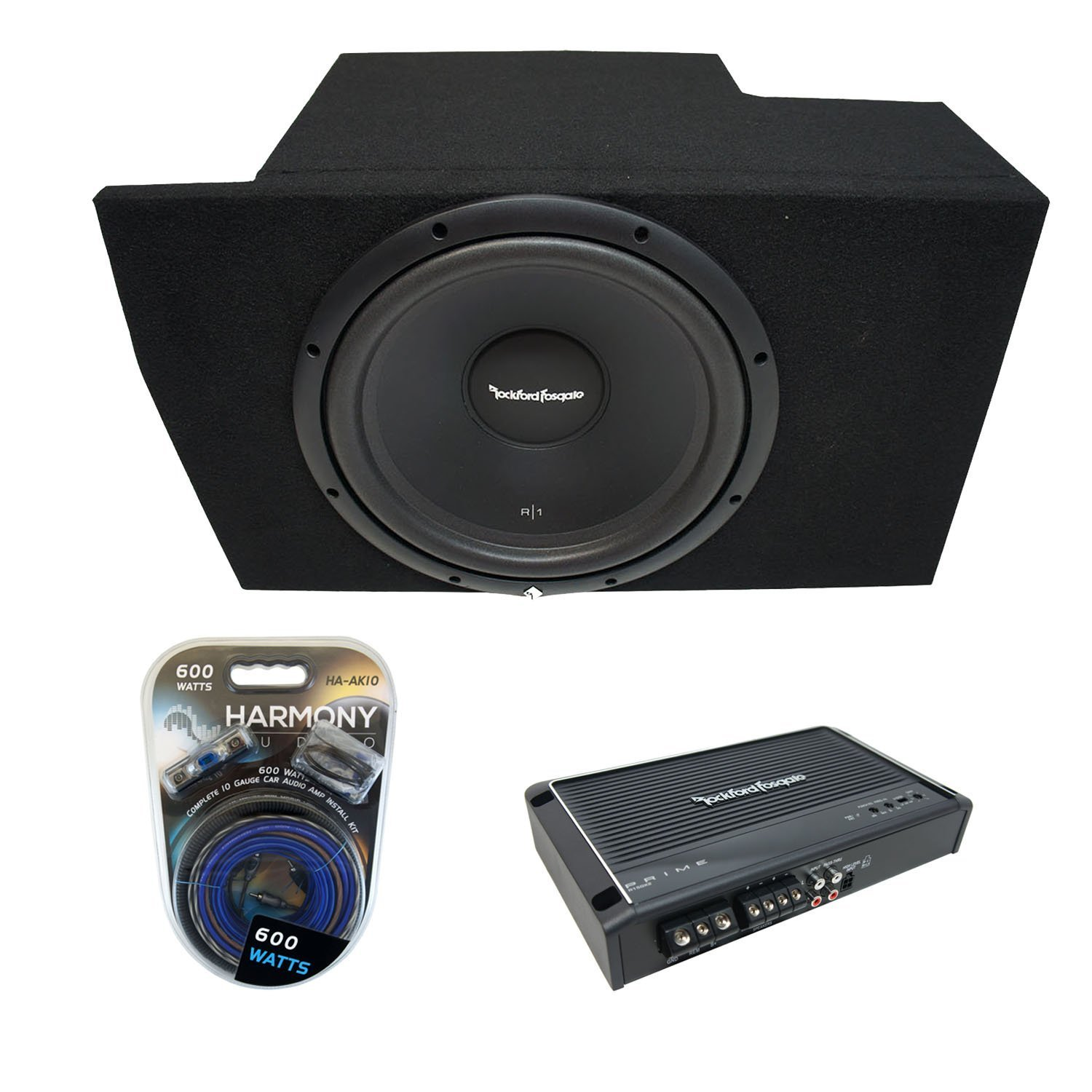"2005-2014 Ford Mustang Coupe Rockford Prime R1S412 Single 12"" Sub Box Enclosure & R150X2 Amp"
