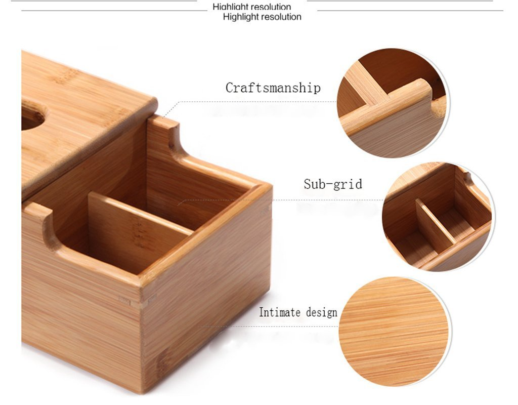 Multifunctional Bamboo Wooden Tissue Box Container Tissue Box For Wholesale 3