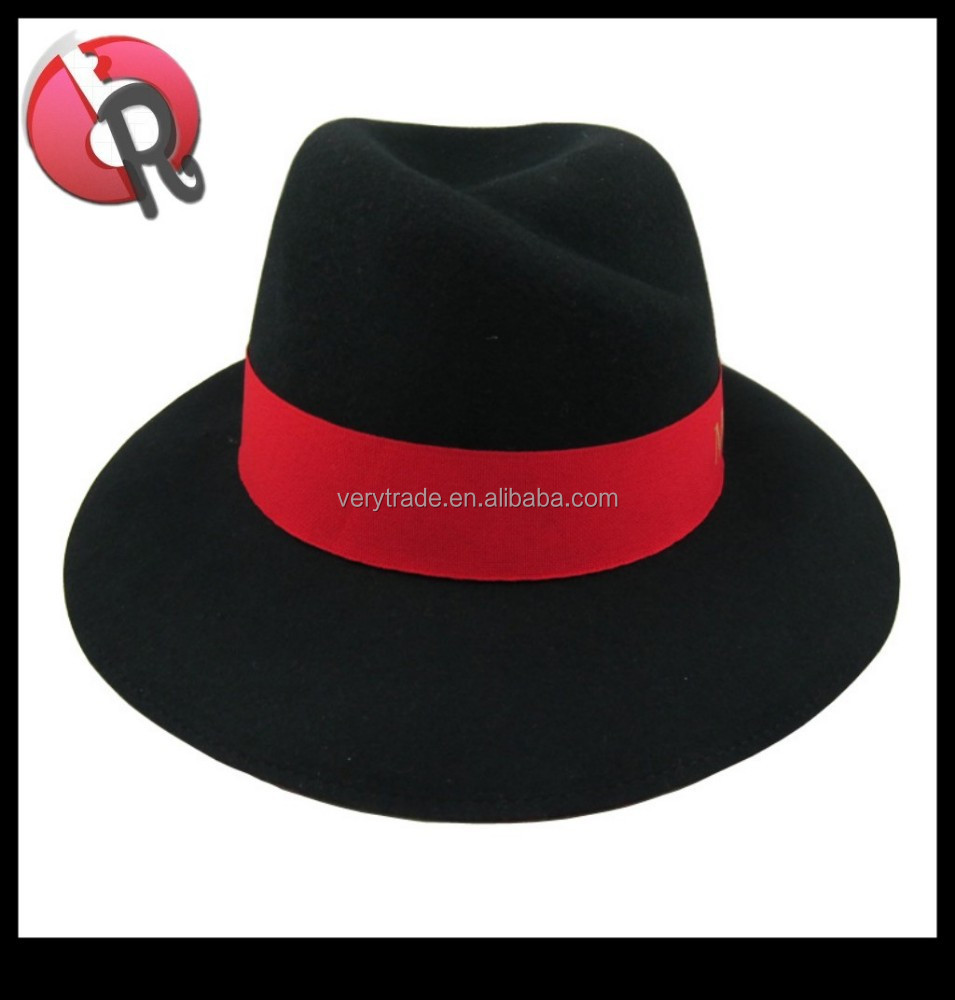 bdfa03d6 black with red band fedora hat