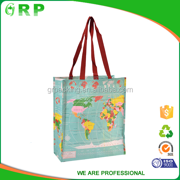 ISO/BSCI Wholesale logo printed large drawstring recycle laminated shopping bag