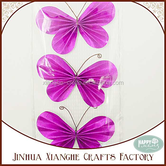 Purple Glitter Paper Origami Butterfly for Decoration