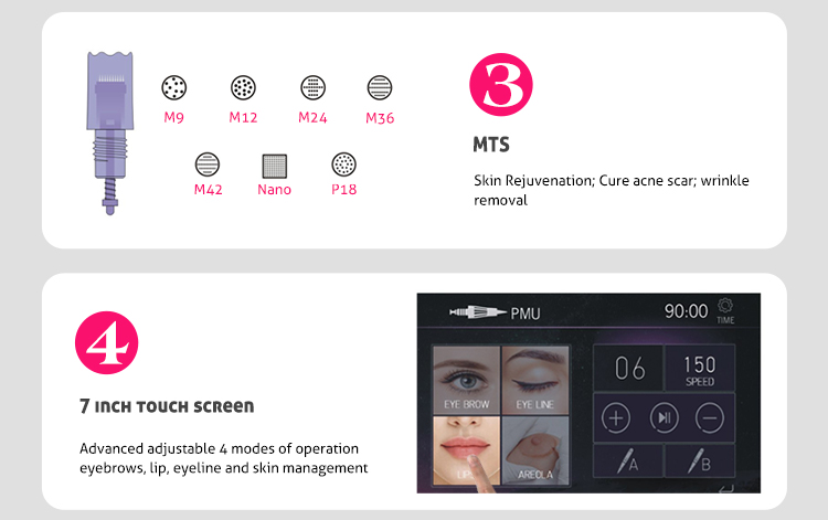 Neue ankunft permanent make-up screen touch pmu maschine microblading