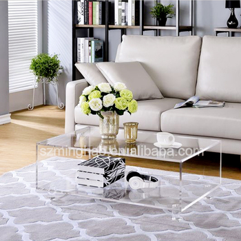 2 Tiers Clear Acrylic Coffee Table Lucite Sofa Side Plexigl Tea Product On Alibaba
