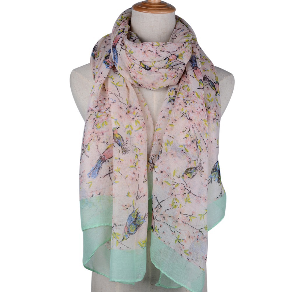 Flower Bird Tree Branch Print Scarf For Women 2015 Autumn Brand New Neck Wrap Fashion Shawls and Scarves 5 Colors Optional
