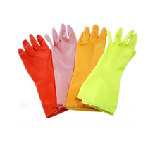 Flocklined long rubber latex kitchen glove