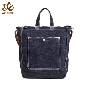 Factory wholesale fashion casual business canvas handbag womens denim work tote bag