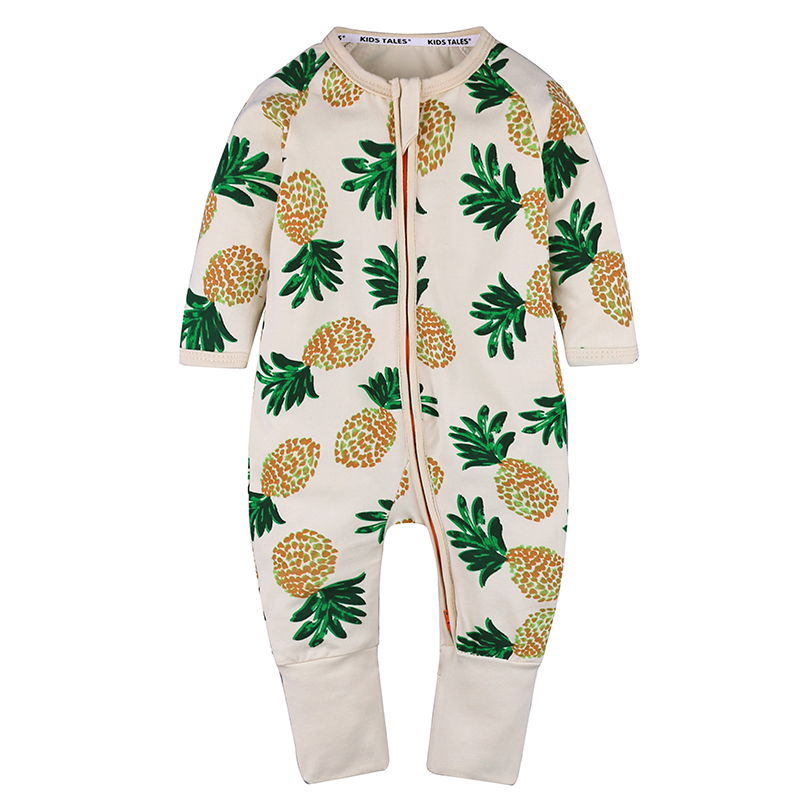 Cotton pineapple printed jumpsuit boutique baby clothes girl romper for 0-24M фото