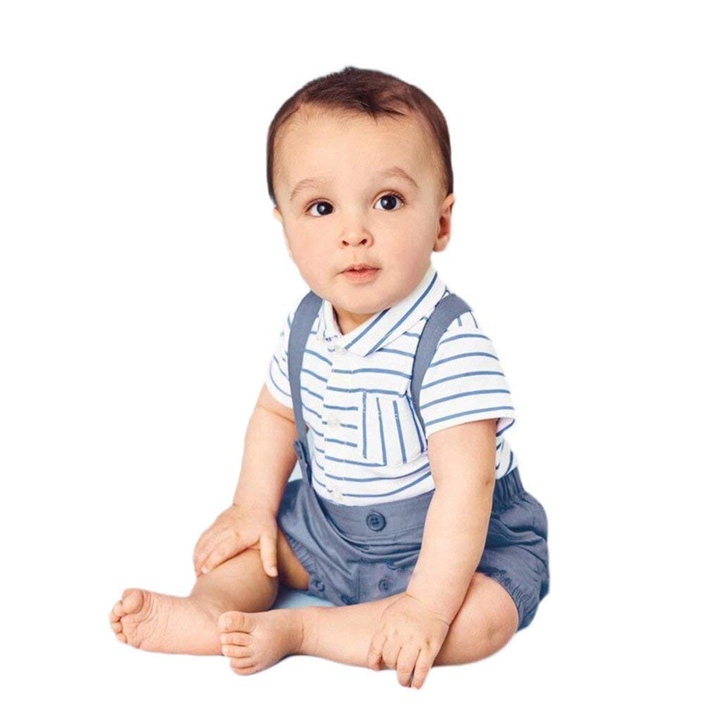 Moyikiss Studio Baby Boys Gentleman Outfits Short Sleeve Striped Shirt+Suspender Pants Formal Clothes Set