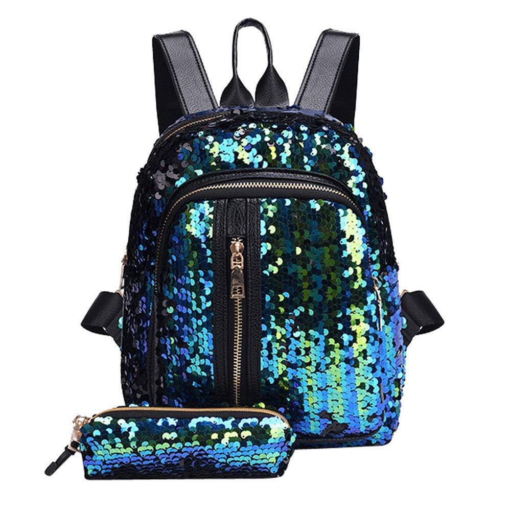 Clearance Sale ! Sequins Backpack Girls,Vanvler Ladies Travel Shoulder Bag School Bags with Clutch Wallet Gift (Sky Blue)