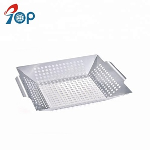 Stainless steel vegetable basket BBQ grill basket
