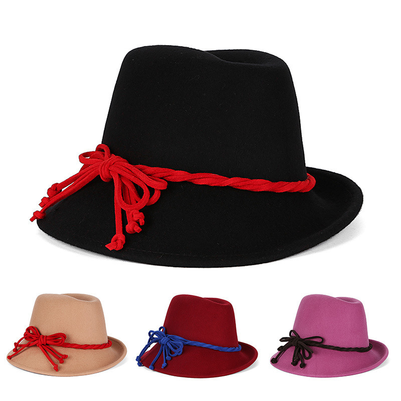 74c9d808d46 Get Quotations · Wholesale Black Tea Party Wool Winter Floppy Top Vintage  Mens Bowler Women Chapeu Fedora With String