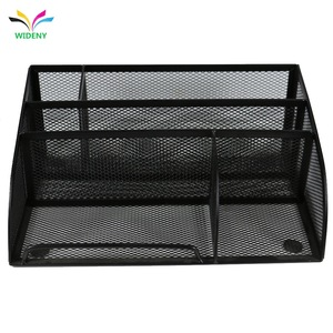 Black Metal Mesh 5 Compartment Office Supply Caddy Pen Pencil Holder Desk Organizer Storage Rack