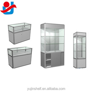 Alibaba Golden Supplier Silver Aluminum Frame Glass Cabinet Display Showcases For Jewelry Shop