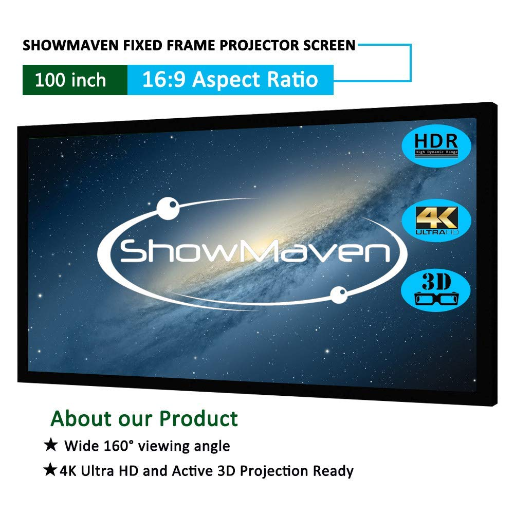 "ShowMaven Fixed Frame Projector Screen Sable Frame,Screens Sable Frame Active 3D 4K / 8K Ultra HD Home Theater Projection Projector Screen (100"" Diagonal, 16:9)"