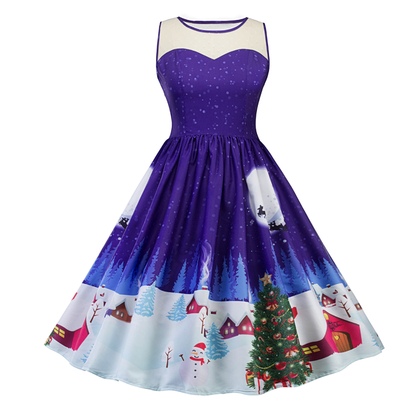 Hot sale christmas snowman Xmas tree lace printed casual dress