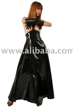 841d43792 Gothic Victorian vinyl PVC / PU leather wide long Corsage skirt ball gown  high Quality