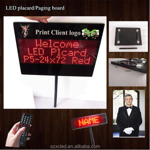 Remote control programable Welcome electronic Rechargeable LED placard Picking cards