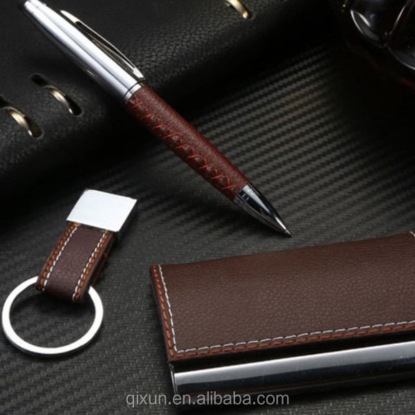 business card holder pen keychain promotion business pen gift set with logo