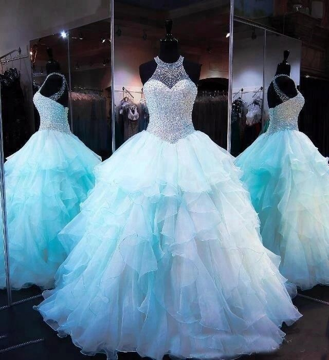 Light Sky Blue Quinceanera Dresses 2018 Beads Luxury Halter Organza Ball Gown 16 Sweet Girls Prom Gowns Cheap