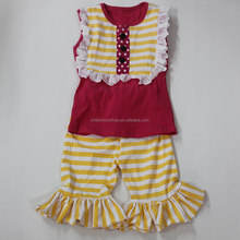 Best sale latest design yellow chevron outfits Baby clothes sets wholesale boutique outfits