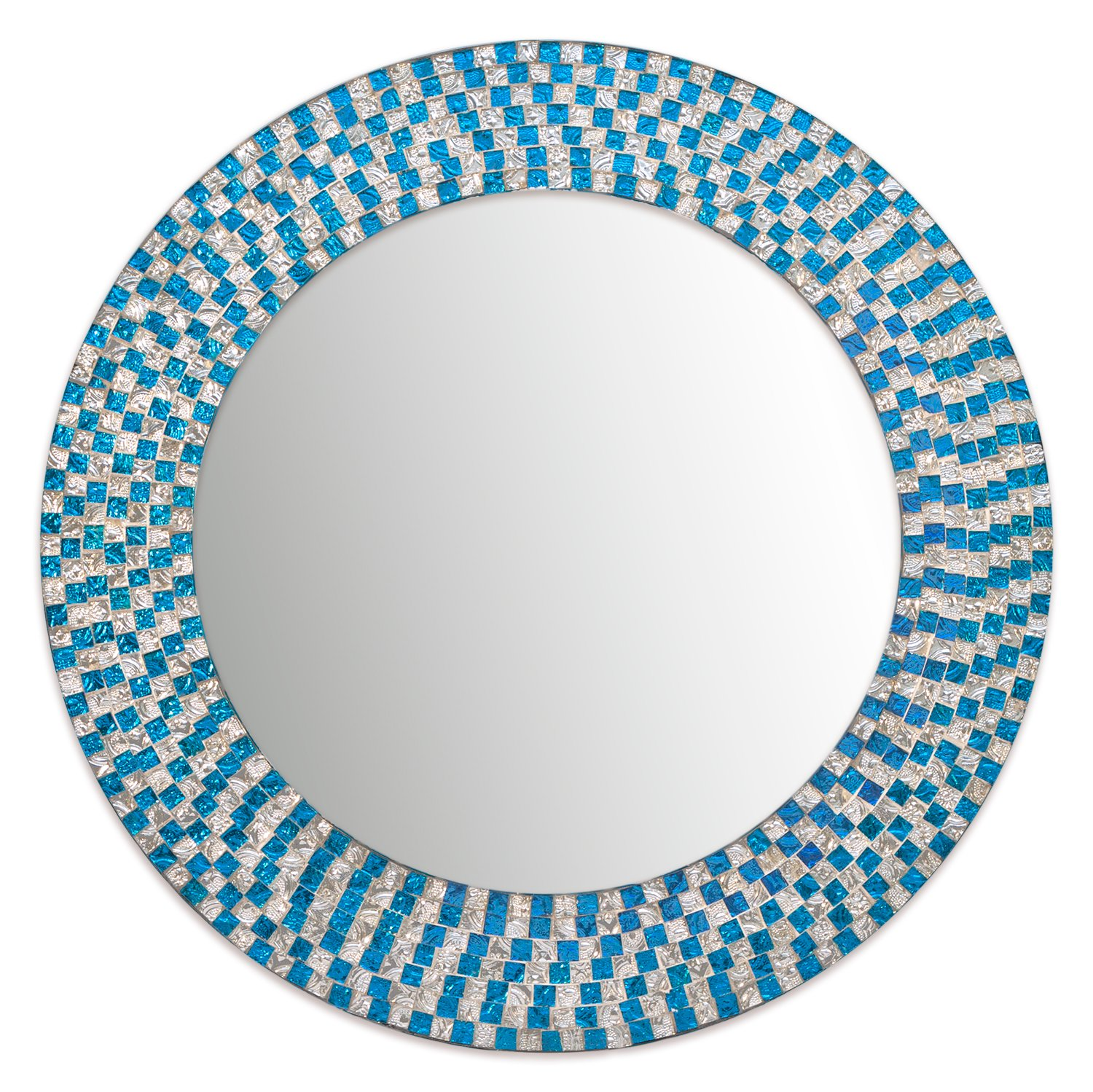 Decors 20 Inch Framed Decorative Turquoise Wall Mirror Jewel Tone Accent Round