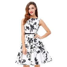 Dames Elegante Pin Up Bloemen <span class=keywords><strong>Jurk</strong></span> Retro Casual 50 s Gewaad Vintage Party <span class=keywords><strong>Rockabilly</strong></span> Jurken