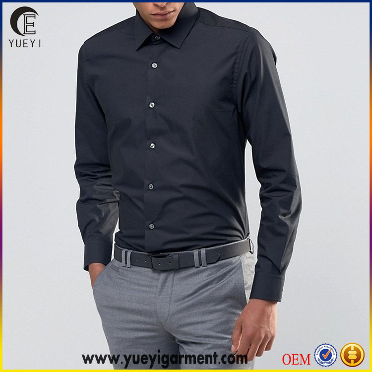 latest new model dri fit skinny smart shirts wholesale black business shirt with point collar