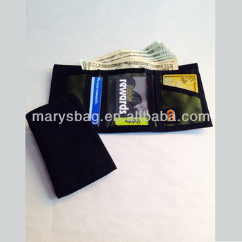 Trifold Wallet with hook and loop closure