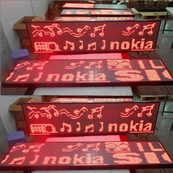 P4-96X384 (384X1536mm) Indoor Red Color USB Flash Disk Communication  LED Advertising Screen for Wall
