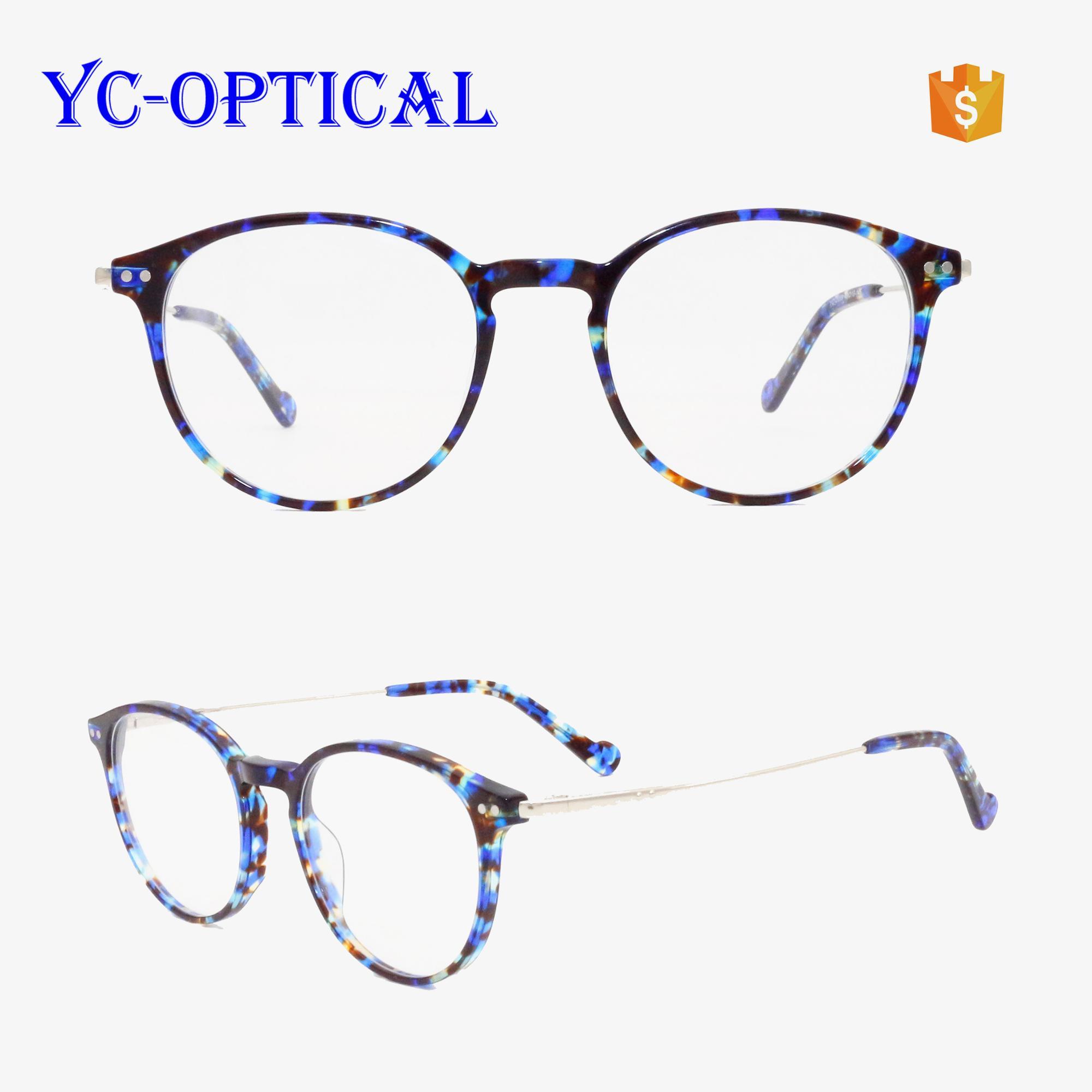 2088ac1b0d1 latest glasses frames for girl wholesale optical frames women glasses  acetate round frames metal temple combo