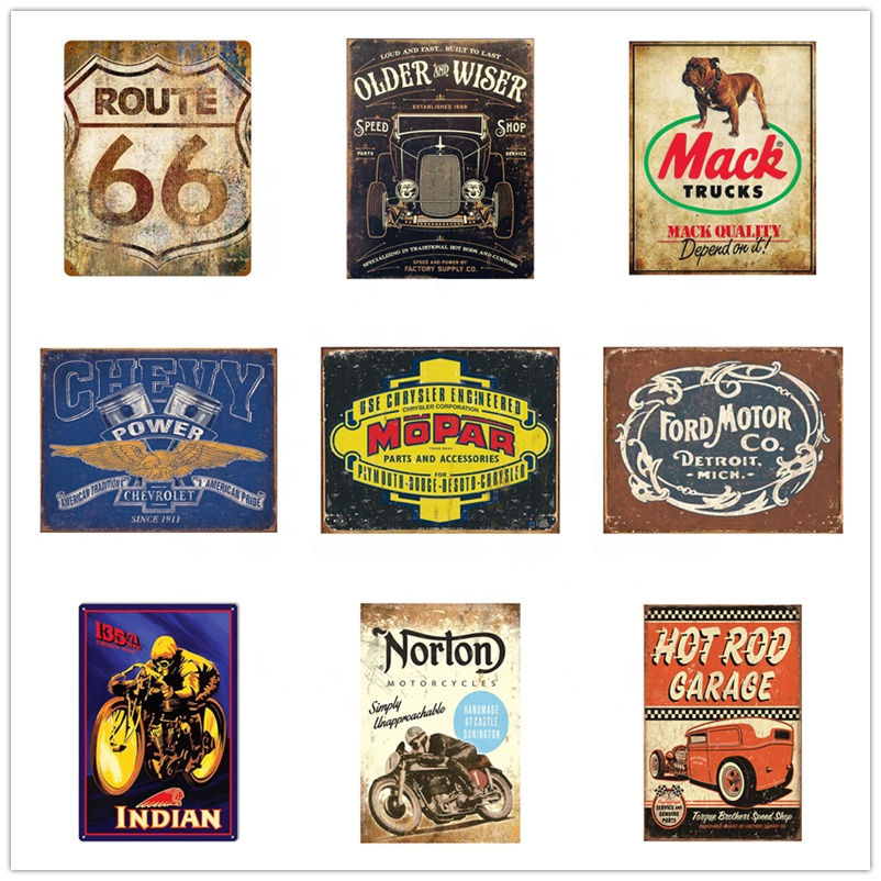wholesale custom metal carfts 20x30 cm tin signs vintage retro metal antique route 66 plaques hot rod cars garage old poster