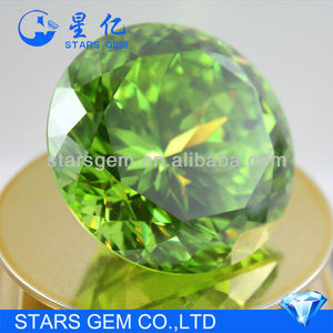 apple green round brilliant cut big size loose cubic zirconia stones
