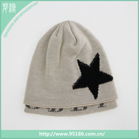 new design five-pointed star woolen knitted winter hat