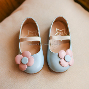 Size 21-35 Wholesale Spring Autumn Kids Casual Leather Shoe With Flower Princess Light Blue Children Girl Shoe