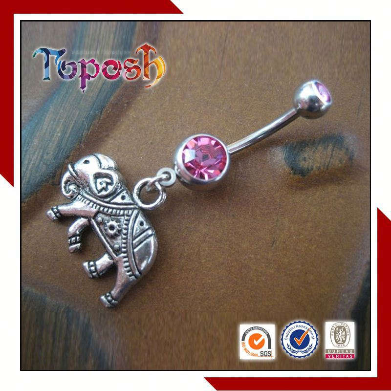 2015 unique desgin elephant Belly Ring