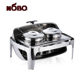 NOBO Buffet Warmer Service Stainless Steel Soup Warmers Ttwo-basin Chafing Dish For Soup
